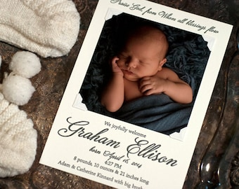 Letterpress Photo Birth Announcement | Letterpress Photo Adoption Announcement | Custom Birth Announcement | LARGE Announcement