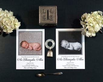 Photo Birth Announcement Digitally Printed | Photo Adoption Announcement Digitally Printed | Classic Birth Announcement | LARGE Announcement