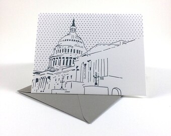 Washington D.C. Letterpress Card | US Capitol | gray & blue single blank card with envelope