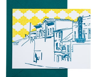SALE | Ellicott City Maryland Letterpress Card | Main Street | turquoise & chartreuse single blank card with envelope