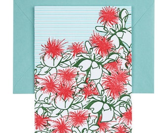 Safflower | Letterpress Card | single blank greeting card with envelope | floral letterpress greeting card