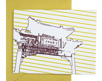 Philadelphia Letterpress Card | Chinatown Friendship Gate | purple & chartreuse single blank card with envelope