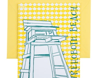 Rehoboth Beach Delaware Letterpress Card | Lifeguard Stand | turquoise & yellow single blank card with envelope