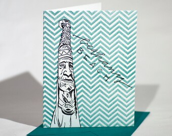 SALE | Bethany Beach Delaware Letterpress Card | Totem Pole | dark purple & turquoise single card with envelope