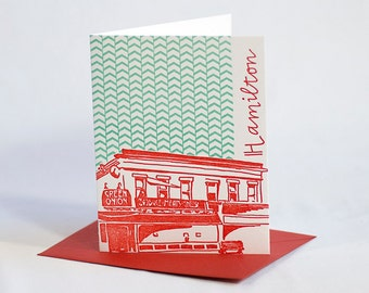 SALE | Baltimore Letterpress Card | Green Onion | red & aqua single blank card with envelope