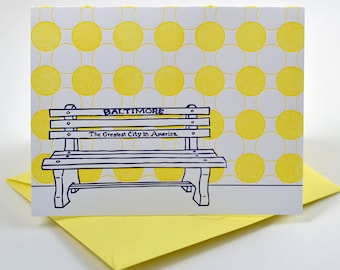 Baltimore Letterpress Card | Greatest City in America Bench | purple & yellow single blank card with envelope