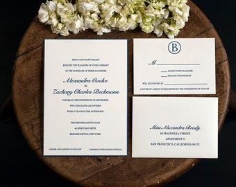 Letterpress Wedding Invitation with RSVP set | Monogram Wedding Invitation | Modern Wedding Invitations | Classic Wedding Invitations