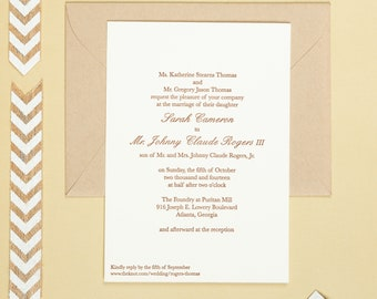 Letterpress Wedding Invitation | Traditional Wedding Invitation | Classic Wedding Invitation | Handmade Wedding Invitation