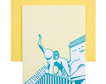 Baltimore Letterpress Card   Papermoon Diner   teal & yellow single blank card with envelope