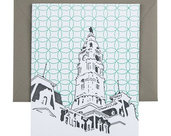 Philadelphia Letterpress Card | Philadelphia City Hall | gray & turquoise single blank card with envelope
