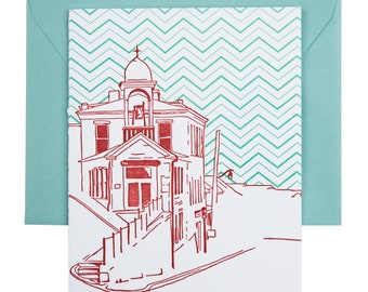SALE | Ellicott City Maryland Letterpress Card | Fire House Museum | red & aqua single blank card with envelope