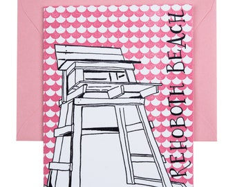 SALE | Rehoboth Beach Delaware Letterpress Card | Lifeguard Stand | gray & pink single blank card with envelope