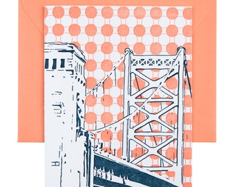 Philadelphia Letterpress Card | Benjamin Franklin Bridge | navy & coral single blank greeting card with envelope