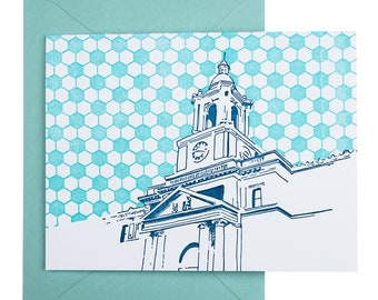 Baltimore Letterpress Card | The Rotunda | royal & teal single blank card with envelope