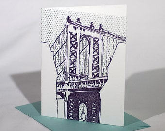 SALE | Brooklyn Letterpress Card | Manhattan Bridge | purple & teal single blank card with envelope