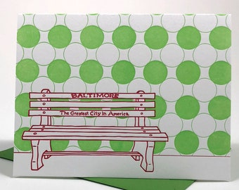 Baltimore Letterpress Card | Holiday Bench | red & green blank card with envelope