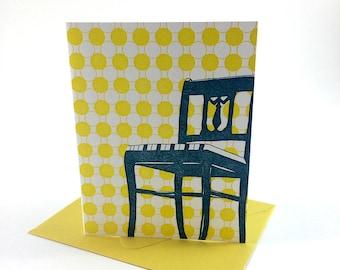 Washington D.C. Letterpress Card | Anacostia Chair | peacock & yellow single blank card with envelope