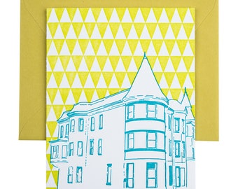 Baltimore Letterpress Card | Brownstone House | teal & chartreuse single blank card with envelope