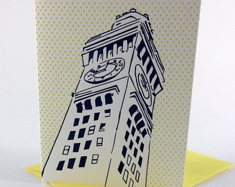 Baltimore Letterpress Card | Bromo Seltzer Tower | navy & yellow single blank card with envelope