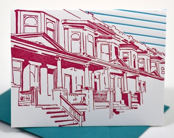 Baltimore Letterpress Card | Painted Ladies of Charles Village | pink & teal single blank card with envelope