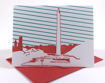 Washington D.C. Letterpress Card | Washington Monument | red & teal single blank card with envelope