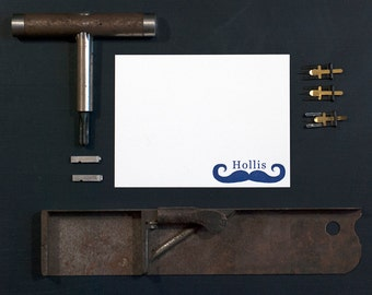 Letterpress Stationery | Personalized Kid Stationery | Correspondence Card | Mustache Stationery Card