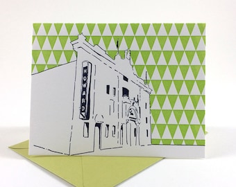 Washington D.C. Letterpress Card | Howard Theatre | navy & green single blank card with envelope