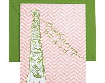 SALE | Bethany Beach Delaware Letterpress Card | Totem Pole | green & coral single blank card with envelope