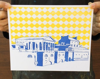 "SALE | Philadelphia Letterpress Poster | Water Works in Fairmount | royal blue & yellow 8"" x 10"" poster"