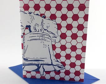 Philadelphia Letterpress Card | Liberty Bell | blue & red single blank greeting card with envelope