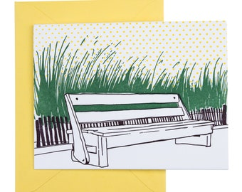 SALE | Rehoboth Beach Delaware Letterpress Card | Boardwalk Bench | purple, green & yellow single blank card with envelope