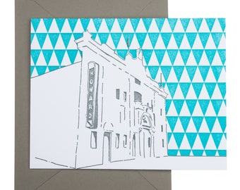 Washington D.C. Letterpress Card | Howard Theatre | gray & teal single blank card with envelope
