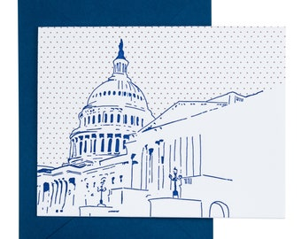 Washington D.C. Letterpress Card | US Capitol | blue & rose gold single blank card with envelope