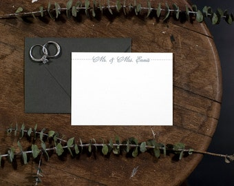 Mr & Mrs Personalized Letterpress Stationery | Wedding Stationery | Letterpress Correspondence Card | Custom Stationery