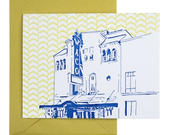 Waco, Texas Letterpress Card | Waco Hippodrome | blue & chartreuse single blank card with envelope