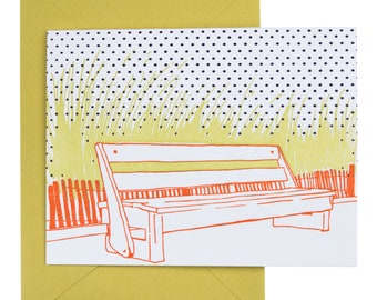 SALE | Rehoboth Beach Delaware Letterpress Card | Boardwalk Bench | orange, green & blue single blank card with envelope