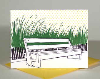 SALE | Rehoboth Beach Delaware Letterpress Card | Boardwalk Bench | purple, green & yellow single blank card with envelope