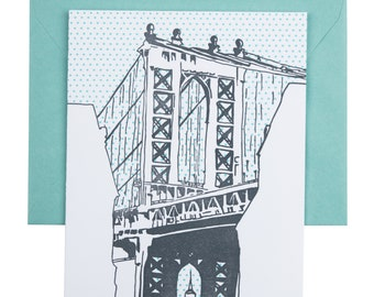 SALE | Brooklyn Letterpress Card | Manhattan Bridge | silver & teal single blank card with envelope