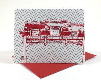 Washington D.C. Letterpress Card | Friendship Archway | red & gray single blank card with envelope