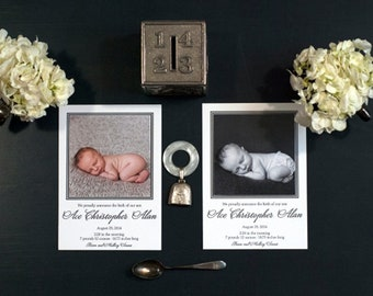 Letterpress Photo Birth Announcement | Letterpress Photo Adoption Announcement | Custom Photo Announcement | LARGE Announcement