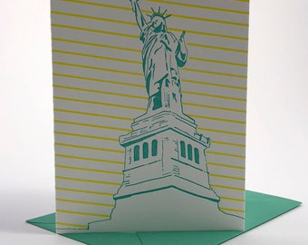 New York City Letterpress Card | Statue of Liberty | seafoam green & yellow blank card with envelope