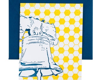 Philadelphia Letterpress Card | Liberty Bell | blue & yellow single blank greeting card with envelope
