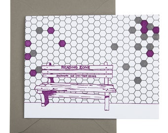 Baltimore Letterpress Card | Reading Zone Bench | purple & light gray single blank card with envelope