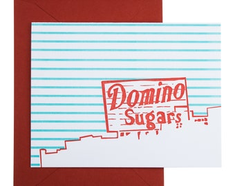 Baltimore Letterpress Card | Domino Sugars Sign | red & blue cards | package of 4 blank cards with envelopes