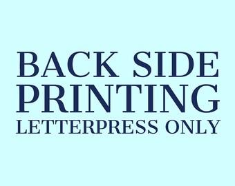 Back Side Letterpress Printing Add-On Service