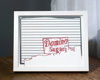 "Baltimore City Letterpress Poster | Domino Sugars sign | 8"" x 10"" Poster"