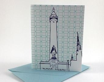 Baltimore Letterpress Card | Washington Monument | purple & light blue single card with envelope