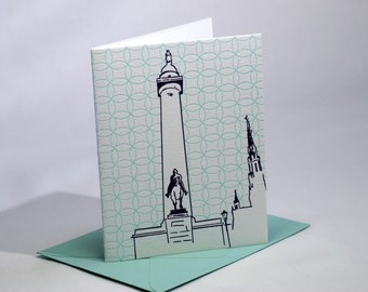 Baltimore Letterpress Card | Washington Monument | purple & turquoise cards | set of 4 blank cards with envelopes