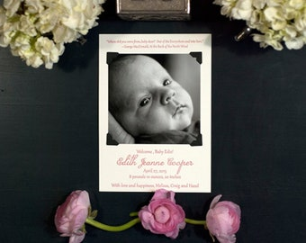 Letterpress & Photo Birth Announcement | Adoption Announcement | Photo Baby Announcement | Classic Announcement | LARGE Announcement