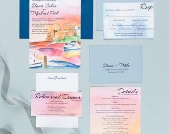 Letterpress Wedding Invitation Suite | Modern Wedding Invitation Suite | Watercolor Wedding Invitations
